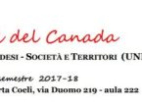 """Ciclo di incontri """"I MERCOLEDÌ DEL CANADA"""" – Febbraio/Maggio 2018"""